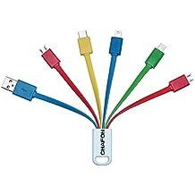 Chafon Últimas Premium 6en 1USB Cable de carga rápida para iPhone 6plus, 6, 5S, 5C, iPad Air Air2Mini Mini2Mini3, iPad 4th Gen, iPod Touch 5th Gen, iPod Nano 7th Gen, Samsung Galaxy S5S4S3S2Note4Note3Note 2Note Tab3, Tab2, otros Android & Windows Smartphones/Tablets, compatible con la mayoría de los Bancos externo de alimentación–carga hasta 5dispositivos al mismo tiempo.