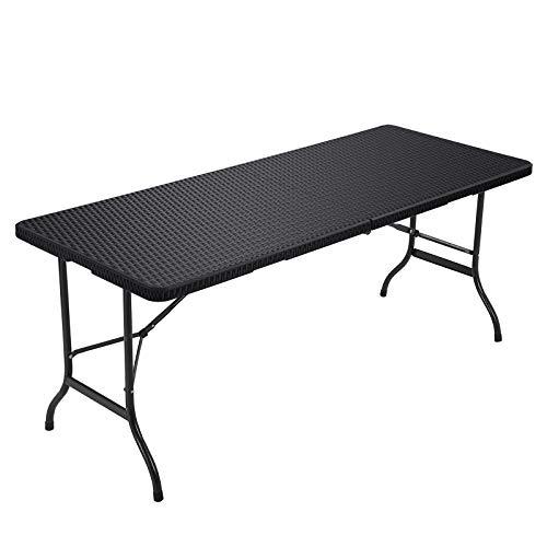 SONGMICS Klapptisch, großer Gartentisch mit Oberfläche aus Polyrattan, klappbarer Campingtisch, Sicherheitsriegel, Terrasse, Koffertisch, Buffettisch 180 x 75 x 74 cm, schwarz GPT02BK