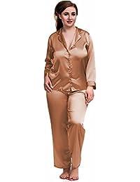 d4f831e14406b Nine X- Plus Size Lingerie S-6XL Satin Pyjamas Long Sleeve Nightwear Black  PJ's