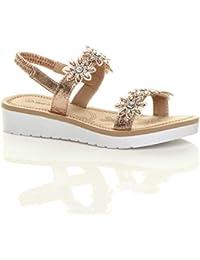 b4e07dd22a2 Ajvani Womens Ladies Low Wedge Heel Flatform Diamante t-bar Slingback  Sandals Size