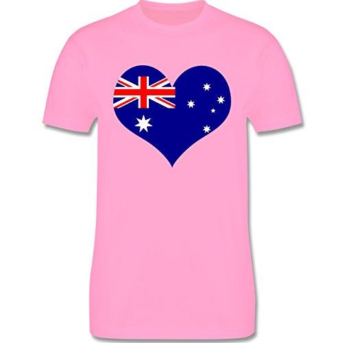 Länder - Herz Australien - Herren Premium T-Shirt Rosa