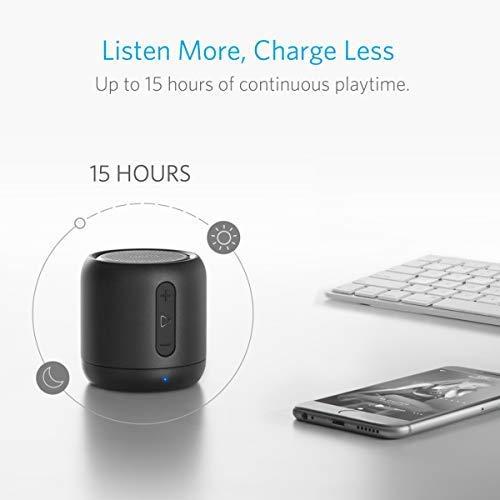 Anker SoundCore Mini Super Mobiler Bluetooth Lautsprecher Speaker mit 15 Stunden Spielzeit, 20 Meter Bluetooth Reichweite, FM Radio und Starken Bass (Schwarz) - 6