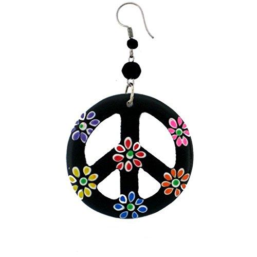 Hippie Peace Zeichen Ohrringe - CHICNET Holzohrringe schwarz Peace bunt Blumen