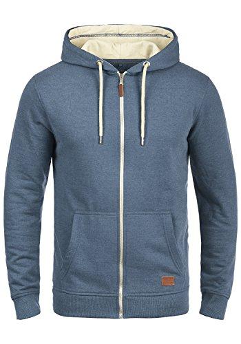 BLEND Hulker Herren Sweatjacke Kapuzen-Jacke Zip-Hood aus hochwertiger Baumwollmischung Meliert, Größe:3XL, Farbe:Ensign Blue (70260)