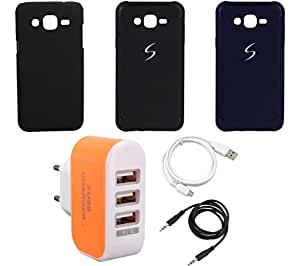 NIROSHA Cover Case USB Cable Charger for Samsung Galaxy ON5 - Combo