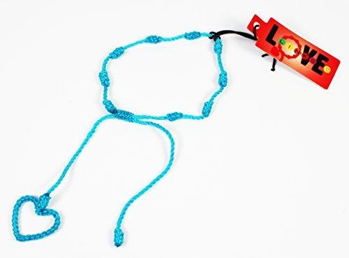 Türkis handgefertigt (by Love links), geknüpftes Armband, Herz Symbol, Kordel Freundschaft Armband, String Spanner, max 20,3cm Umfang