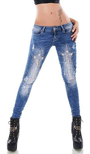 Trendstylez Damen Crash-Jeans Hose Vintage-Effekte Strass-Sternschnuppe Zier-Zippern blue washed A831 Größe 38 -