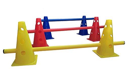 LA-24 3 x Steckhürden 23 cm, Kegelhürden, Hürden für Agility (rot, gelb, blau)