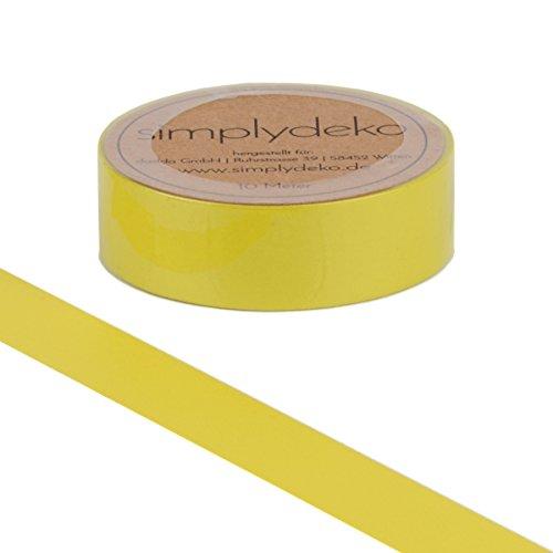 Simplydeko Washi Tape - Masking Tape Pastell und Uni-Farben - Wundervolles Washitape Bastel-Klebeband aus Reispapier - Gelb Lemon Yellow
