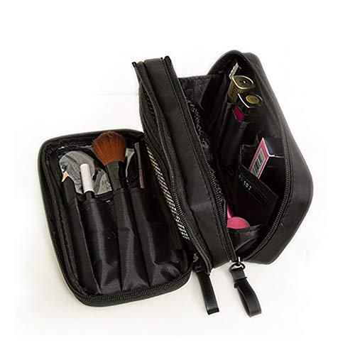 sciuU Borsa Cosmetica da Viaggio/Borsa per Toilette, Portatile Beauty Case, Multiuso Cusotdia in Nylon per Accessori Trucco, Viaggi o Casa, Nero