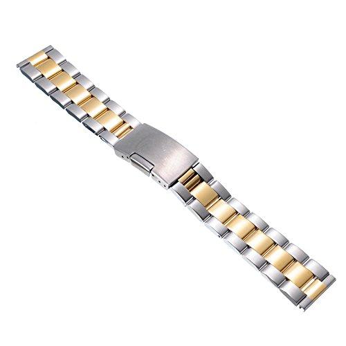 Gold-silber-uhr-band (22mm Herren Damen Silber Gold Edelstahl Uhren-Armband Uhrenarmbänder Uhrband Watch Band Watch Strap Uhr Unisex mit Edelstahlschliesse)