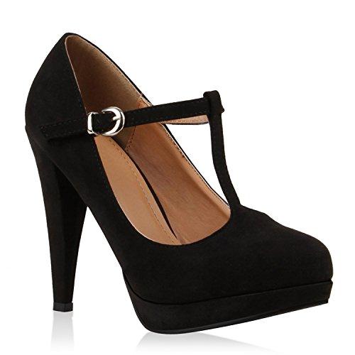 Süße High Heel (Damen Pumps T-Strap Spitze High Heels Riemchenpumps Stilettos Zierperlen Nieten Blockabsatz Schuhe 114333 Schwarz Braun 40 Flandell)