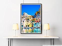 Sinus Art Kunst Leinwandbild - Architekturfotografie - Hafen der Procida Insel Neapel Italien- Fotodruck in gestochen scharfer Qualität