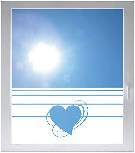 INDIGOS UG Sichtschutzfolie Glasdekorfolie Fensterfolie mit Motiv satiniert Blickdicht - w365 Herz Herzchen Liebe Traum - 1000 mm Länge - 500 mm Höhe Streifen - Satiniert Mit Streifen