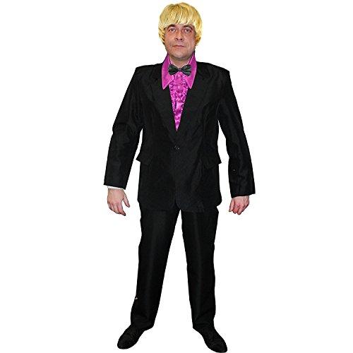 ILOVEFANCYDRESS POPSÄNGER DER 60iger-70iger Jahre KOSTÜM VERKLEIDUNG=BESTEHT-SCHWARZEN Anzug+ROSA RÜSCHENHEMD+Blonde PERÜCKE+Schwarze SEIDIGE Fliege = SMALL