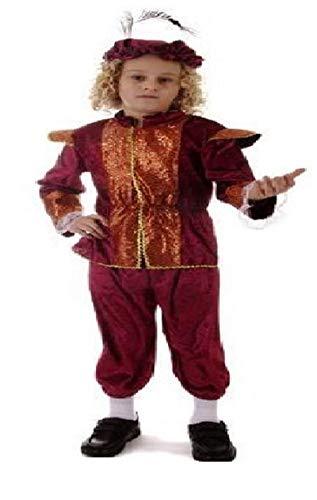 REICH TUDOR JUNGE FANCY-DRESS KOSTÜM MITTELALTERLICHE LEHRPLAN KOSTÜM S M L 4-11 JAHRE - Rot - Rot, Rot, M 7-9 Jahre (Lehrplan Kostüm)