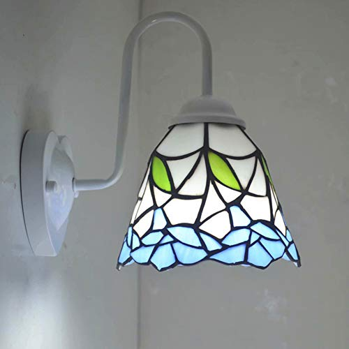 Retro Aplique de pared de Tiffany, lámpara de pared de estilo vintage, vitrales creativos, aplique de pared, lámpara Art Deco de hierro E27, base para cama, habitación de niños, pasillo, escalera