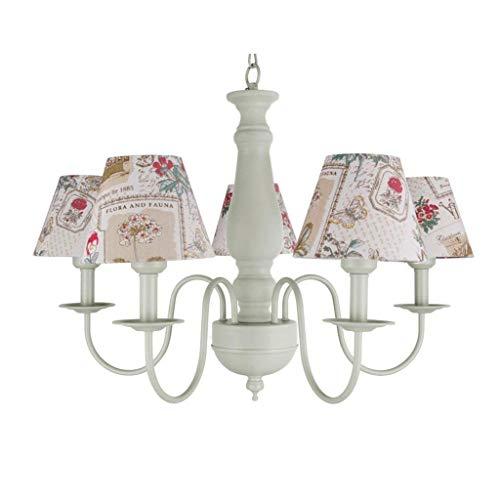 Ama gbyzhmh chandeliers chandeliers paese americano 5-in-testa di ferro dell'illuminazione delle ragazze camere da letto studio mediterraneo princess fresh rustic e27 lampada da soffitto del bilancio