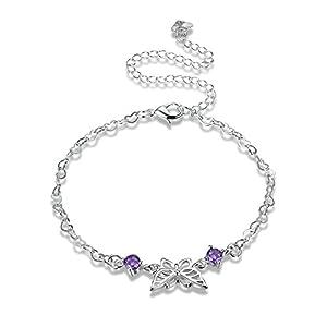 Beydodo Fußschmuck Versilbert Damen Fußketten Boho Anhänger Herz Zirkonia Schmetterling Strandkette Fussketten Silber für Frauen