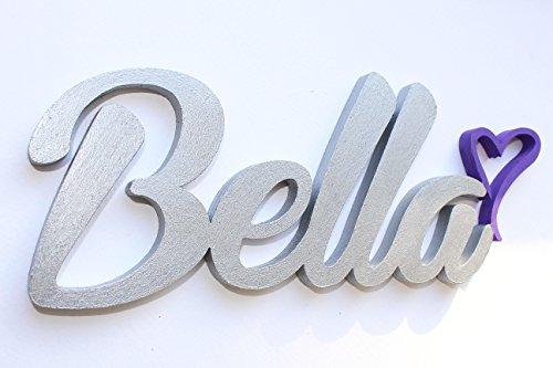 Mädchen oder Junge Name Tür Vorlagen mit einem Herz, Bella, personalisierbar Tür Schilder, Kinderzimmer-Custom Geschenke, Geburtstag Geschenke, Taufe Dekore, Baby Geschenk, Mia Workshop