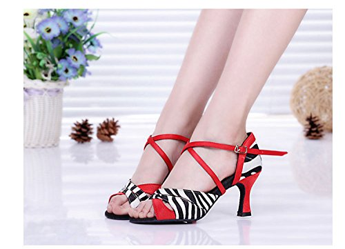 Miyoopark ,  Damen Tanzschuhe Red/White-7.5cm Heel