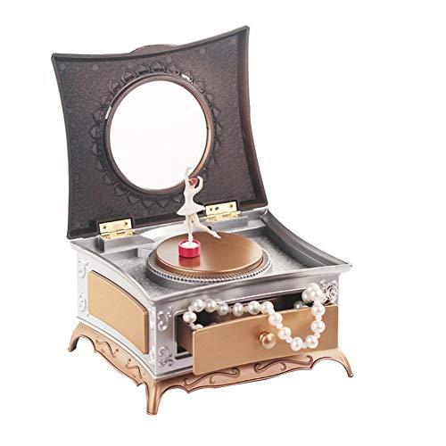 EisEyen Exquisites Schmuckkästchen mit Spiegel Spieluhr Schmucklade für Halskette Ohrringe - Drehender Ballerina für Kinder Baby Mädchen Geschenk (Ballerina Mobile)
