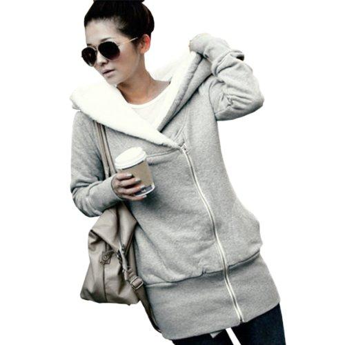 Women Ladies Winter Hoodies Jackets Coats Zip-up Sweatshirt Jumper Sweater Top Grey S/UK 8 Signore delle donne di inverno Felpe Giacche Cappotti Felpa Zip-up maglione ponticello top Grey S / UK 8