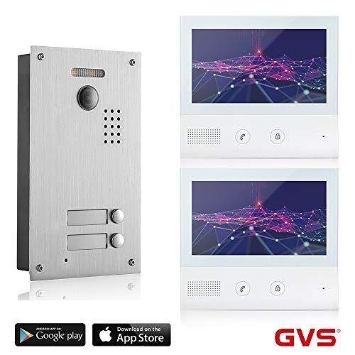 GVS 2-Draht/IP Video Türsprechanlage, 2 Familienhaus Set, Handy-App, 2X 7 Zoll Touchscreen, Tür-Öffner-Funktion, Foto-/Video-Speicher, Unterputz Türstation, 2 MP 170° Kamera, AVS7038-7071-22