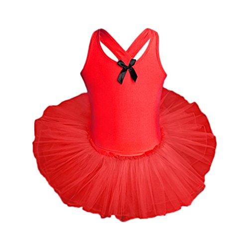 KOLY Tuta da Bambina di Garza Ragazza Vestito Balletto Danza Body  Ginnastica Polka Dots con Fascia 7d774aabb2b