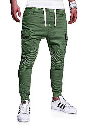 MT Styles Biker Jogging-Jeans Pantalon homme RJ-2276 [kaki,