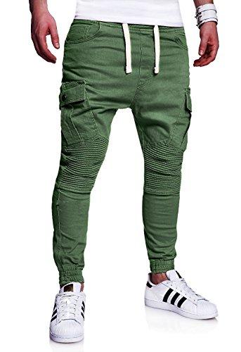 MT Styles Biker Jogg-Jeans Chino Hose RJ-2276 [Khaki, W30] (Khaki Herren-jeans)