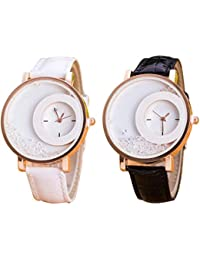 c229ee6d1b82f Sky Mart New Arrival Special collection White Movable Diamonds In Round Dial  Fancy Black   White Leather Belt…