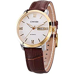 Comtex Men's Automatic Watch Gold Case with White Dial and Brown Leather Strap Day and Date Calendar