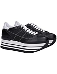 Hogan Sneakers Maxi Platform H222 HXW2830K020IFJ0002 Pelle Tela Nero Glitter 0d1f239c054