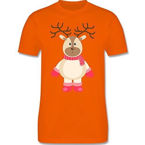 Weihnachten & Silvester - Winter Rentier Schal Mütze - S - Orange - L190 - Herren T-Shirt Rundhals (Die Gute Tannenbaum Nachricht)