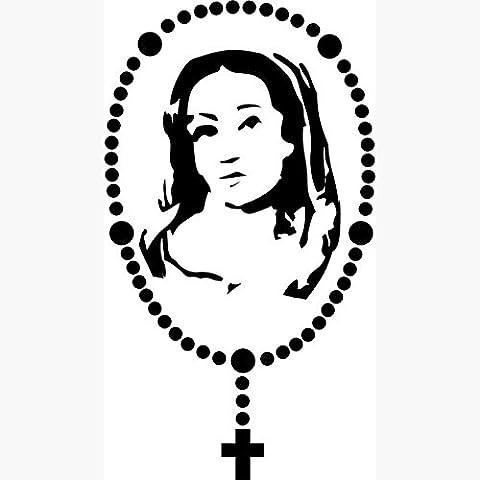 Virgen María Rosario Cruz Pegatinas De Pared Stick–Calcomanías de en Arte de la pared Virgen María de carteles de Cruz cristiana mujer Pegatina para coche, azul, 60CM BY