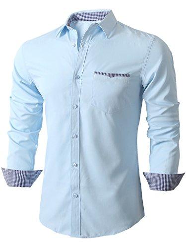 Emiqude Camicia uomo Slim Fit Tasca contrasto Manica lunga Casual