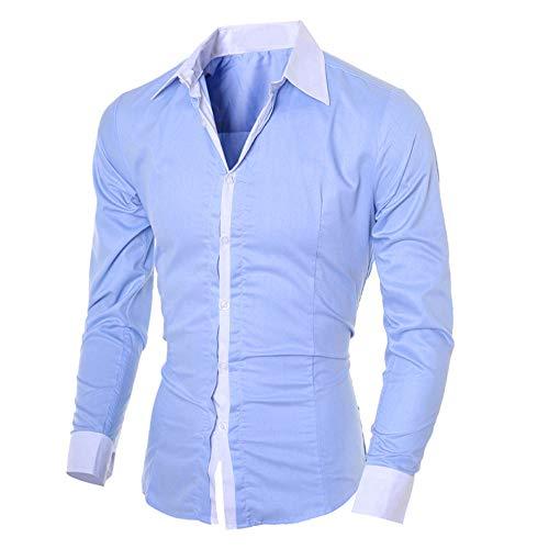 BHYDRY Beiläufige dünne langärmlige Hemd-Spitzenbluse der Art- und Weisepersönlichkeit-Männer Full Zip Rugby