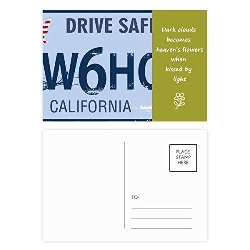 Nummernschild, amerikanisches Muster, Poesie, Postkarten-Set, Danksagungskarte, Mailing-Seite, 20 Stück