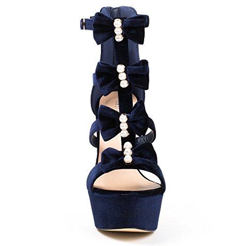 Ideal Shoes Sandales Effet Velours à Brides Décorées de Nœuds et Perles Anaya Marine