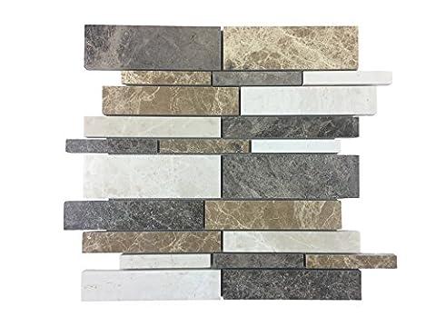Naturstein-Mosaik/Mosaikfliese aus poliertem Marmor als Wandfliese | Wand- oder Bodenverkleidung für Bad oder Küche aus Naturstein I Mosaikfliese 011490 (Delfi)