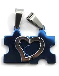 VANKER Dos forma de amor Corazón de la gente de la aleación Amor de los pares colgantes de los collares (Azul)