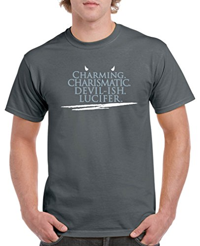 Comedy Shirts - Charming charismatic devil-ish Lucifer - Herren T-Shirt - Dunkelgrau / Eisblau-Weiss Gr. XXL - Devils Crewneck