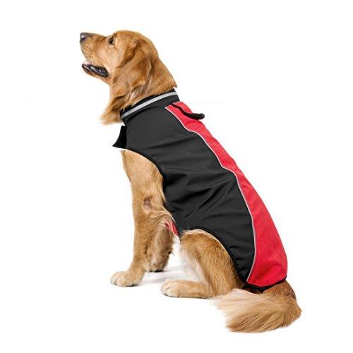 Haustier Hund Kleidung, LHWY Größe Kleider Hunde Kostüm Soft Tauchen Stoff Jacken Wasserdichter Verdickungsschutz SKi Anzug Weste Mantel (4XL, Rot)