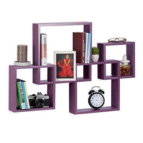 Relaxdays Würfelregal 4er Set, Hängeregal Cube für Wand, freischwebendes Wandboard groß, MDF, HBT: 92x62,5x10cm, violett (Bücherregal 4 Regal Mdf)