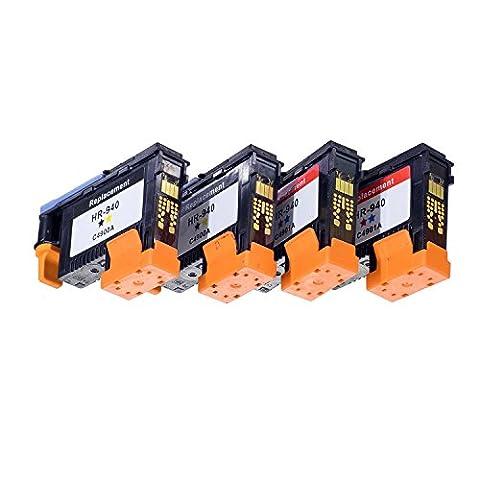 Komada 4pièces Compatible HP940Têtes d'impression compatible avec HP Officejet Pro 8000. 8500, 8500A, 8500a Plus, 8500A imprimantes (2BK/Y, 2C/M)