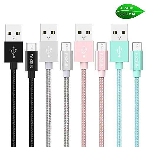 Micro USB Kabel Foxsun [4-Pack 1M] Nylon Micro USB Schnellladekabel High Speed Android Handy Ladekabel für Samsung Galaxy S7/ S6/ J7/ Note 5,Huawei,Xiaomi,HTC,Sony,Kindle und mehr- Farbig -
