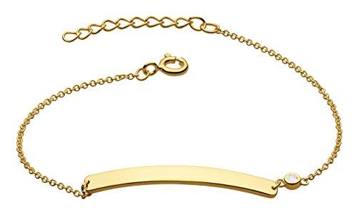 Dew – Braccialetto in argento Sterling e barretta con zircone, lunghezza: 16,5 – 19 cm, argento, colore: Gold, cod. 7864GCZ
