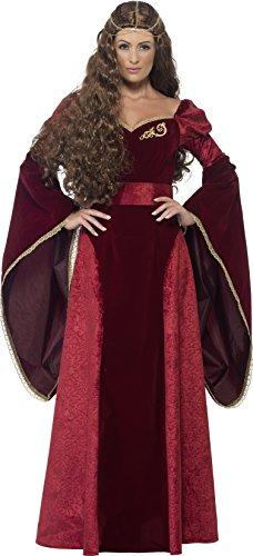 Smiffy's 27877X1 - Medieval Queen Deluxe Kostüm mit Kleid Belt und Kopfstück