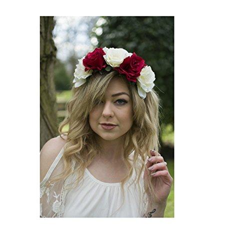 Grande fleur rouge Ivoire Rose cheveux Bandeau Couronne Guirlande Festival Vintage Big R91 * * * * * * * * exclusivement vendu par – Beauté * * * * * * * *